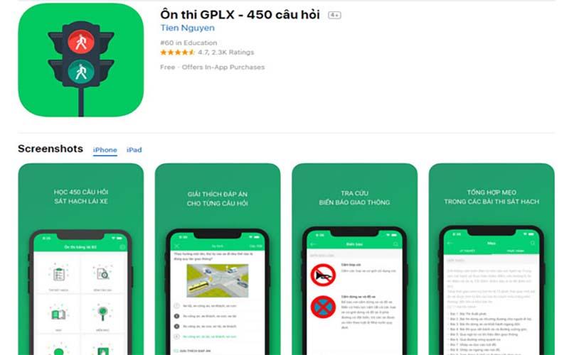 App ôn thi giấy phép lái xe trên iOs