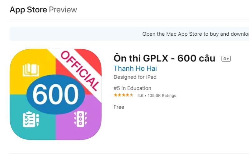 App ôn thi giấy phép lái xe trên iPhone