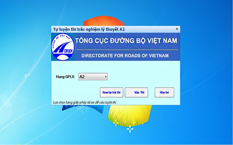 Download phần mềm thi bằng A2 trên máy tính